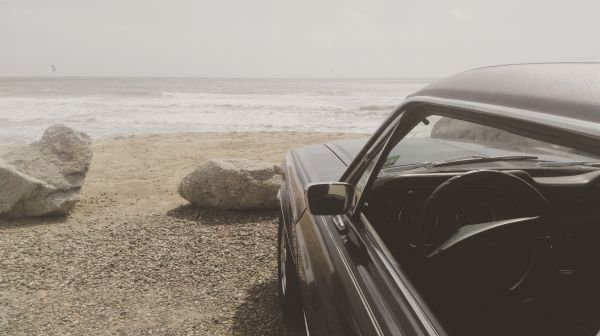 car by beach