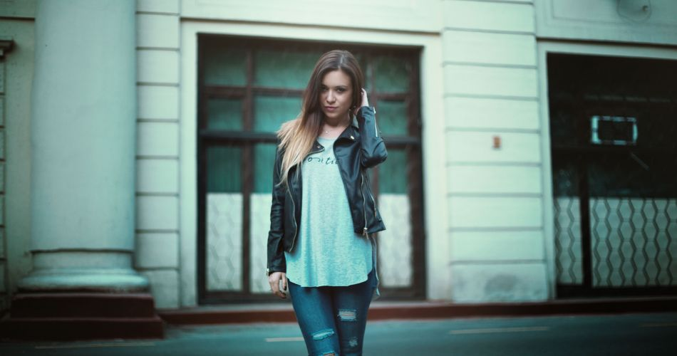 short leather jacket jeans
